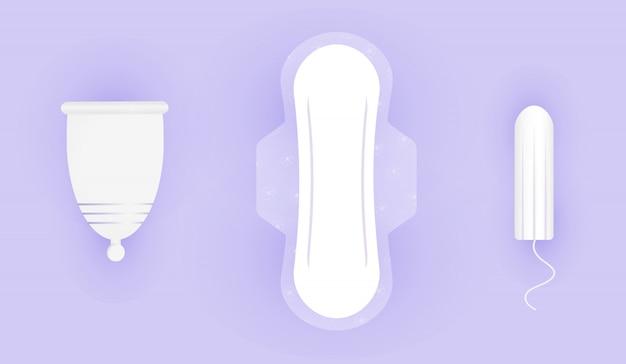 Zusammensetzung der weiblichen hygiene. wahl zwischen menstruationstasse, tampon und pads. schutz für mädchen in kritischen tagen. 3d realistische illustration der frauenhygiene.