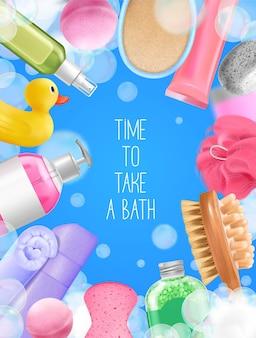Zusammensetzung des badewannenwaschrahmens mit hygieneillustration
