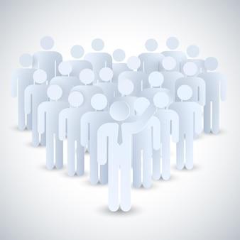 Zusammensetzung des geschäftsteams mit einer gruppe von personen, die durch eine gemeinsame idee vereint sind
