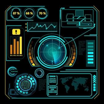 Zusammensetzung des hud-interface-radars mit futuristischen konzept-prozentdiagrammen und -charts