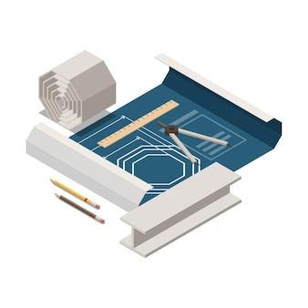 Zusammensetzung des isometrischen konzepts der stammausbildung mit bildern des projektblatts mit technischer zeichnungswarenillustration Kostenlosen Vektoren