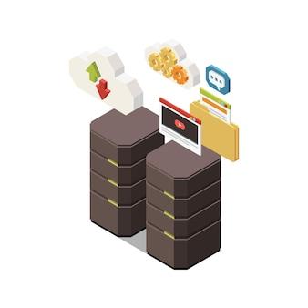 Zusammensetzung des isometrischen konzepts der stammausbildung mit bildern von server-racks mit cloud- und getriebeillustration Kostenlosen Vektoren