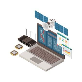 Zusammensetzung des isometrischen konzepts der stammbildung mit bildern von laptop-chips-dna und fliegender satellitenillustration
