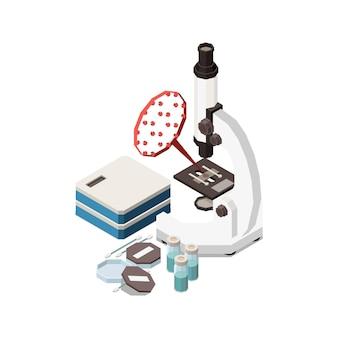 Zusammensetzung des isometrischen konzepts der stammbildung mit bildern von mikroskop und bakterien mit reagenzglasillustration