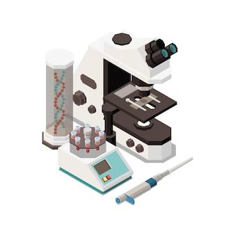 Zusammensetzung des isometrischen stammbildungskonzepts mit bildern von laborgeräten mit mikroskop und dna in röhrenillustration