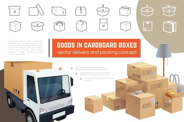 Zusammensetzung des liefer- und verpackungsdienstes