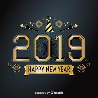 Zusammensetzung des neuen jahres 2019 mit goldener art