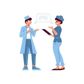 Zusammensetzung des patienten des krankenhausarztes mit den zeichen des arztes und der krankenschwester, die pillentherapie besprechen