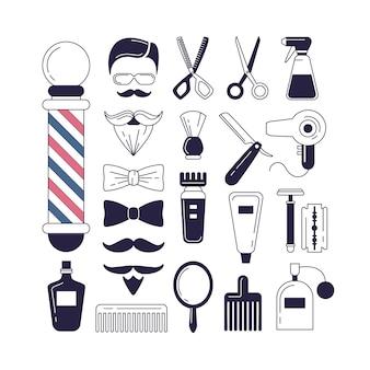 Zusammensetzung des Satzes von Icons für den Friseurladen.