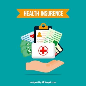 Zusammensetzung mit krankenversicherungselementen und hand