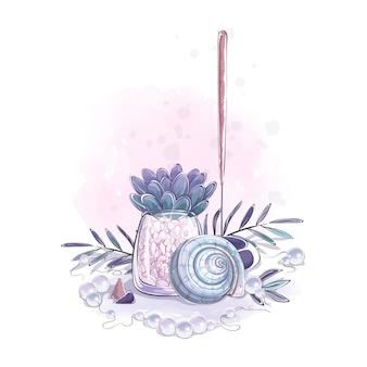 Zusammensetzung mit muschel, sukkulenten, räucherstäbchenblättern und perlen.
