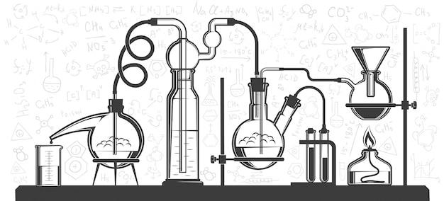 Zusammensetzung von chemischen kolben und instrumenten
