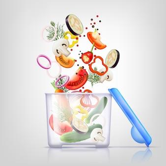 Zusammensetzung von lebensmittelbehältern