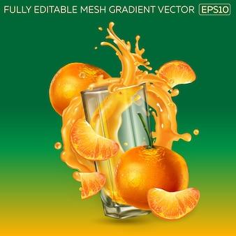 Zusammensetzung von mandarinen, die ein glas mit einem dynamischen spritzer fruchtsaft umgeben.