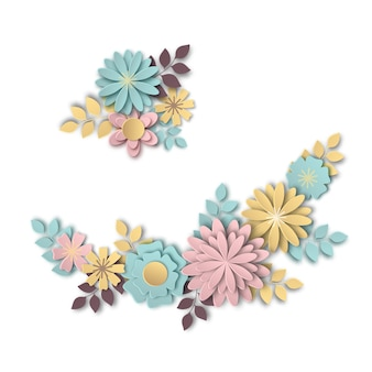 Zusammensetzung von schönen blumen im stil der papierkunst