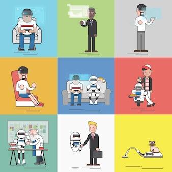 Zusammenstellung der fortgeschrittenen ki-technologie in der illustration des täglichen lebens