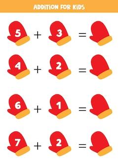 Zusatz für kinder mit rotem handschuharbeitsblatt