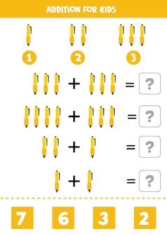 Zusatz mit gelbem stift der karikatur. mathe-lernspiel für kinder.
