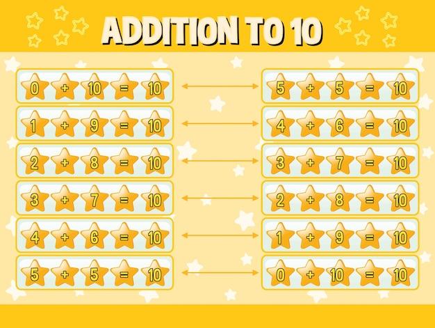 Zusatz zu zehn mit gelben sternen