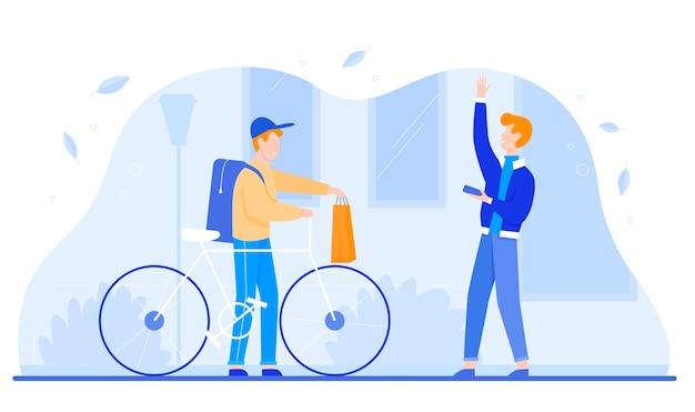 Zusteller kurier liefert tasche auf fahrrad