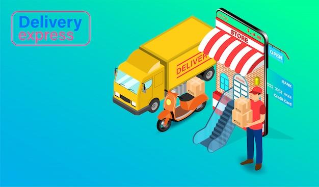 Zustellung express per paket zusteller mit lkw und roller auf mobile anwendung. online-bestellung und paket von lebensmitteln im e-commerce nach website. isometrisches flaches design.