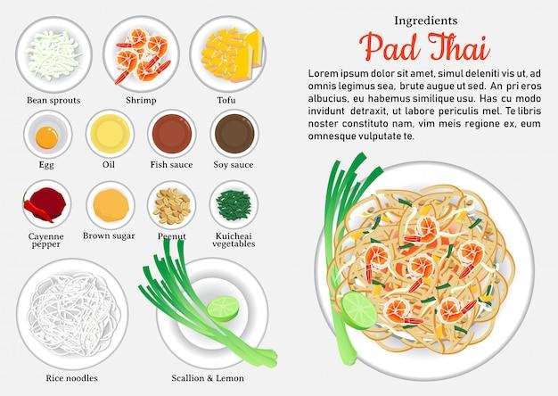 Zutaten von pad thai. eines der beliebtesten gerichte in thailand.