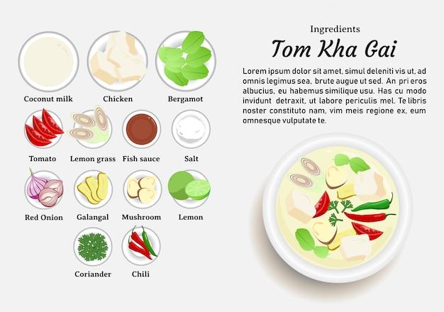 Zutaten von tom kha gai