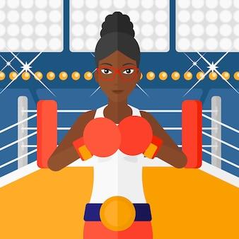 Zuversichtlich boxer in handschuhen