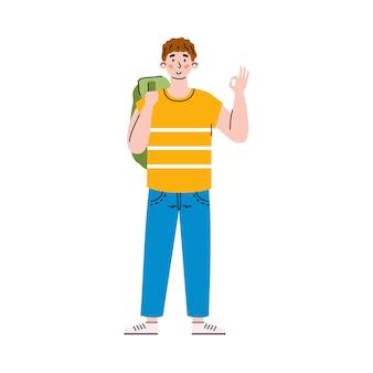 Zuversichtlich fröhlicher mann oder student zeigt ok karikaturillustration