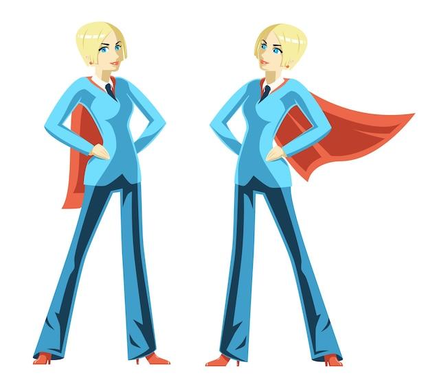Zuversichtlich geschäftsfrau. roter umhang, superheldenfrau, superfrau und machterfolgsmut, vektorillustration