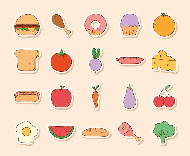 Zwanzig doodle-lebensmittel