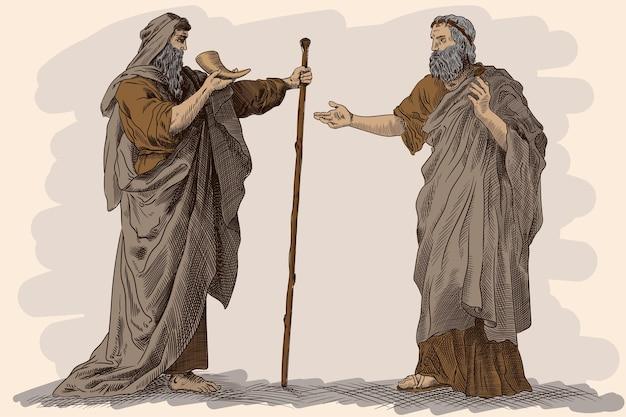 Zwei älteste in antiker griechischer kleidung trinken wein aus dem horn und unterhalten sich.