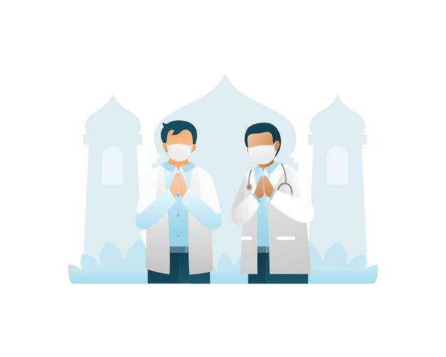 Zwei ärzte begrüßen und feiern eid mubarak mit moschee-hintergrund