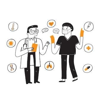 Zwei ärzte diskutieren über die behandlung der krankheit. Premium Vektoren