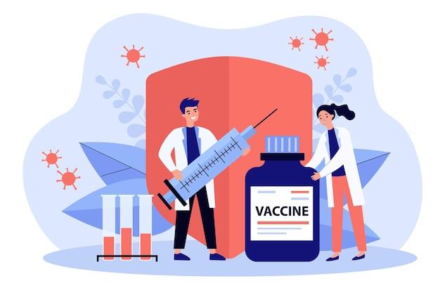 Zwei ärzte mit impfstoff, reagenzgläsern und flacher spritzenillustration
