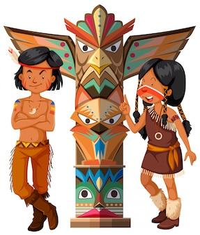 Zwei amerikanische ureinwohner und totempfahl