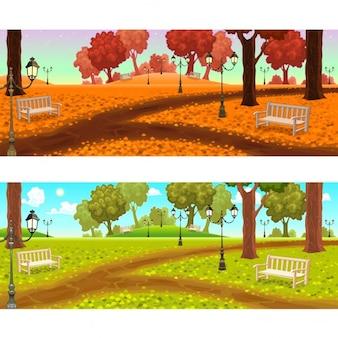 Zwei ansichten auf park mit bänken und straßenlaternen cartoon vektor-illustrationen