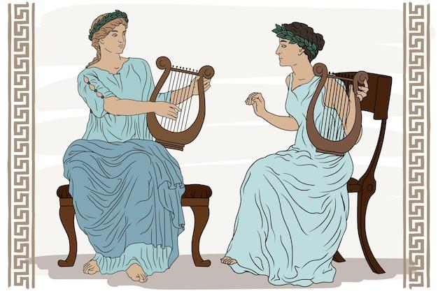 Zwei antike griechische frauen mit lorbeerkränzen auf dem kopf und harfen in den händen spielen musik.