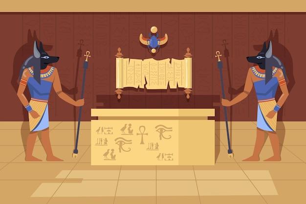Zwei anubis-gottheiten mit ankh-spazierstöcken neben mumienkoffer. karikaturillustration. ägyptische götter im alten tempelinneren, symbole und hieroglyphen. altes ägypten, geschichte, kunstkonzept