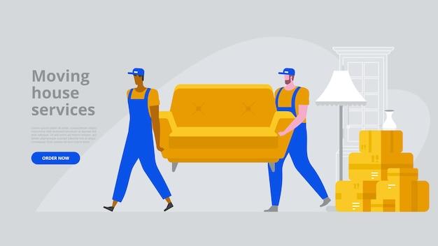 Zwei arbeiter tragen ein sofa. umzugskartons im neuen haus. vektorgrafik im flachen stil
