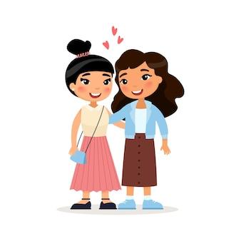 Zwei asiatische junge freundinnen oder lesbisches paar, das lustige zeichentrickfiguren umarmt Premium Vektoren