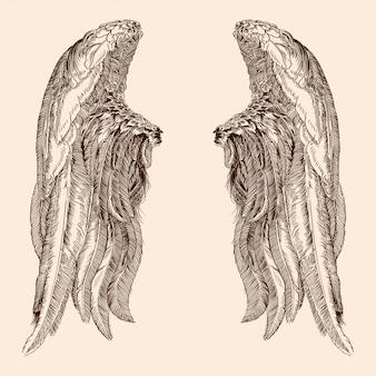 Zwei ausgebreitete flügel eines engels aus federn lokalisiert auf einem beigen hintergrund.