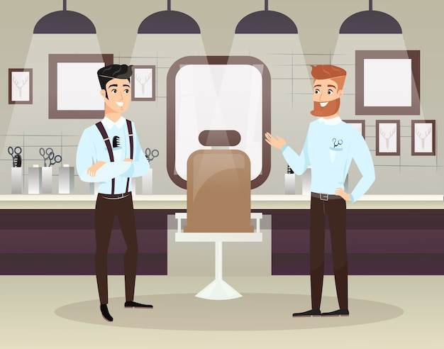 Zwei bärtige friseure, die männliche kunden haarschnitt im friseursalon tun. männer schönheitssalon. innenausstattung des friseursalons