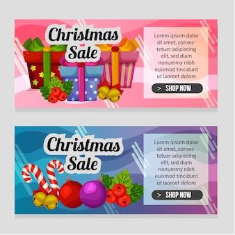 Zwei banner farbige weihnachtsvorlage mit weihnachtsdekoration