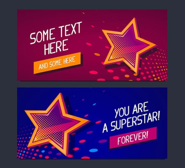 Zwei banner mit großem goldenen stern und leuchtenden flecken auf dunkelrotem und blauem hintergrund mit text.