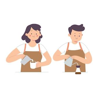 Zwei baristas gossen milch und kaffee in eine tasse