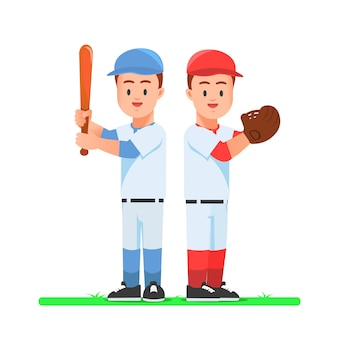 Zwei baseballspieler