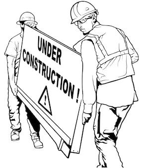 Zwei bauarbeiter, die holzbrett mit im bau befindlichem text tragen