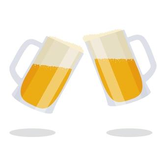 Zwei becher mit bier und schaum. bierkrüge.