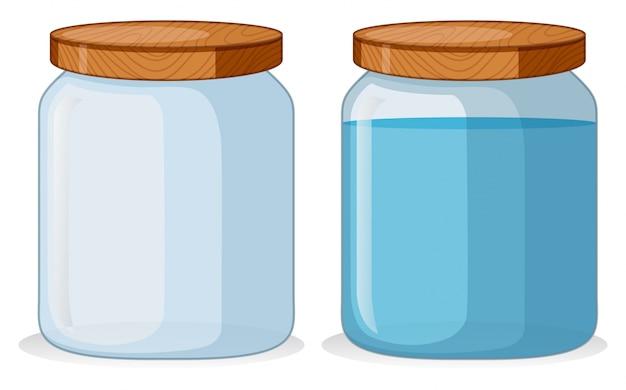 Zwei behälter mit und ohne wasser